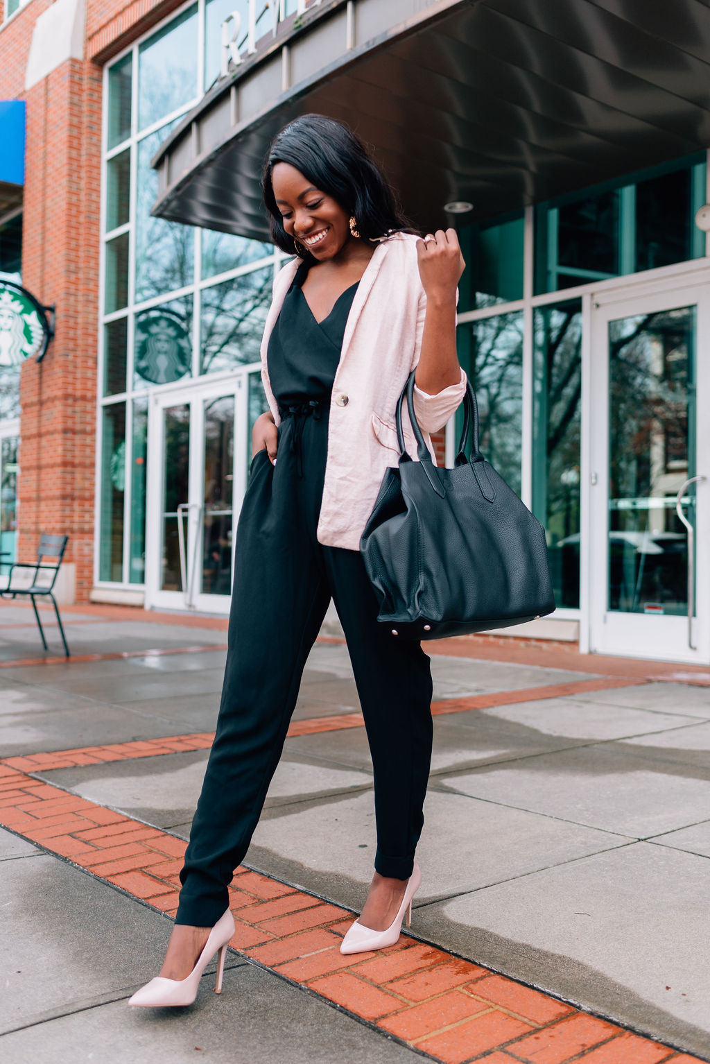 26232faef36a Greenville South Carolina fashion blogger, Tomi, shares her day to night  business casual look